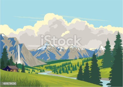 Log cabin in the mountains with a waterfall and tall fir trees beside a river. Sky is blue with some stylised clouds. Sky and clouds are easily deleted if required. Art on easily edited layers. Download includes a large high-res jpeg.