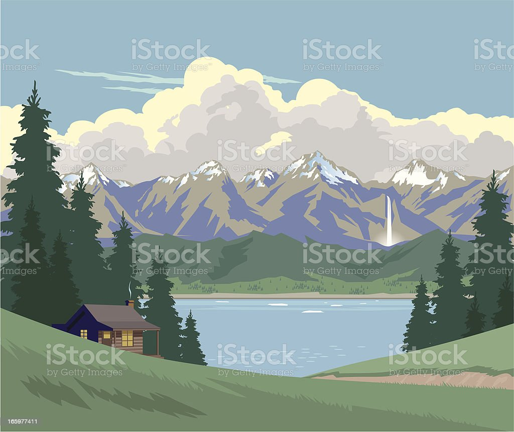 Cabin in the Mountains - Royalty-free Agricultural Field stock vector