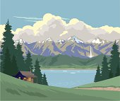 Log cabin in the mountains with a waterfall and tall fir trees beside a lake with ice floes. Sky is blue with some stylised clouds. Art on easily edited layers. Download includes a large high-res jpeg.