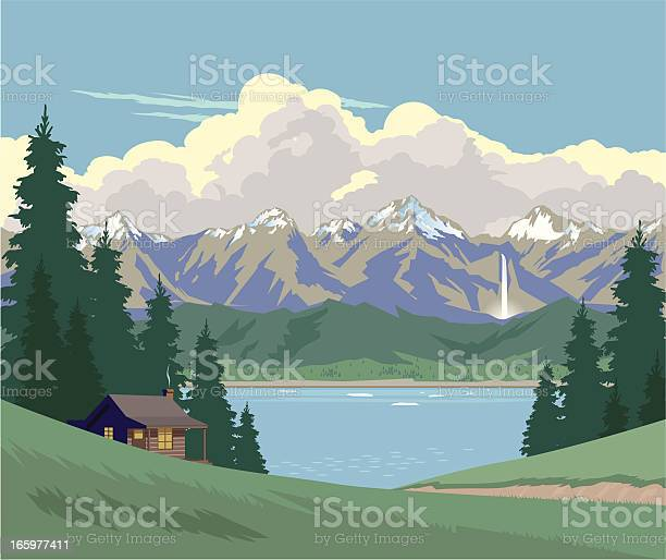 Cabin In The Mountains Stock Illustration - Download Image Now