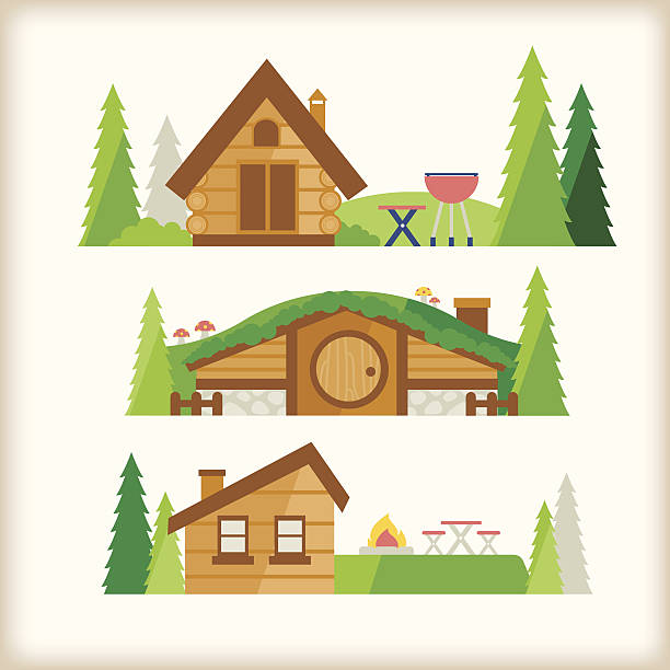 cabin in the valley - log cabin stock illustrations, clip art, cartoons, & icons