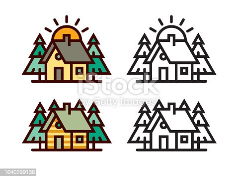 Cabin in the woods. Files included: Vector EPS 10, HD JPEG 4000 x 3000 px