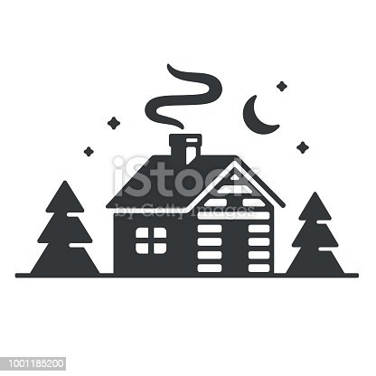 istock Cabin in woods icon 1001185200