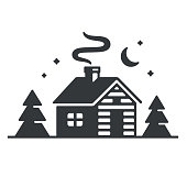 Log cabin in woods icon. Simple wooden cottage at night, vector illustration.