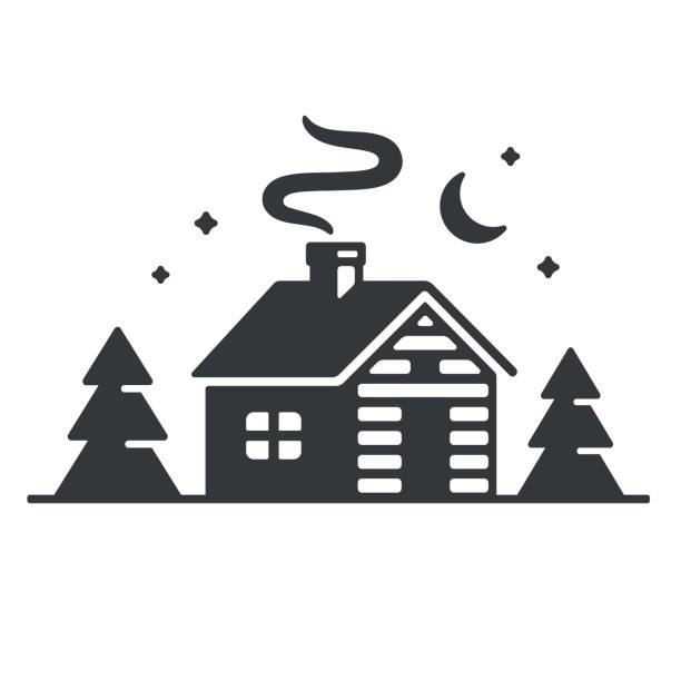 cabin in woods icon - log cabin stock illustrations, clip art, cartoons, & icons