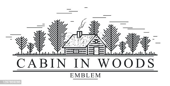 istock Cabin in woods pine forest linear vector nature emblem isolated on white, log cabin cottage for rest, holidays and vacations theme line art logo, beauty in nature, woodhouse resort. 1297859285