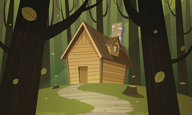 cabin in woods - log cabin stock illustrations, clip art, cartoons, & icons