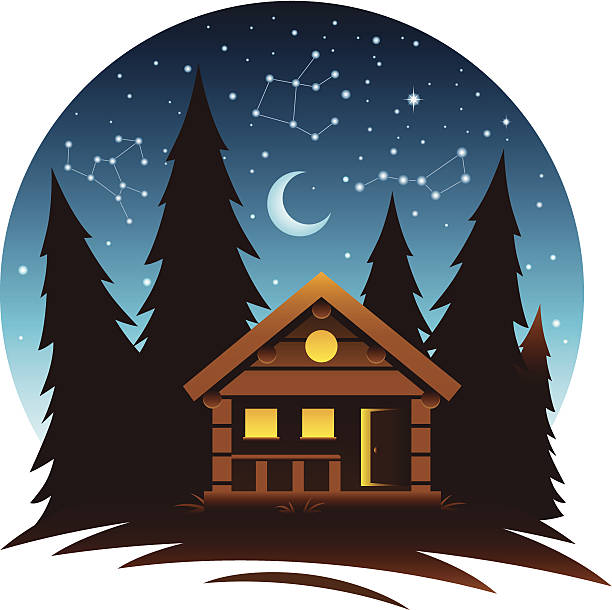 cabin scene at dark - log cabin stock illustrations, clip art, cartoons, & icons