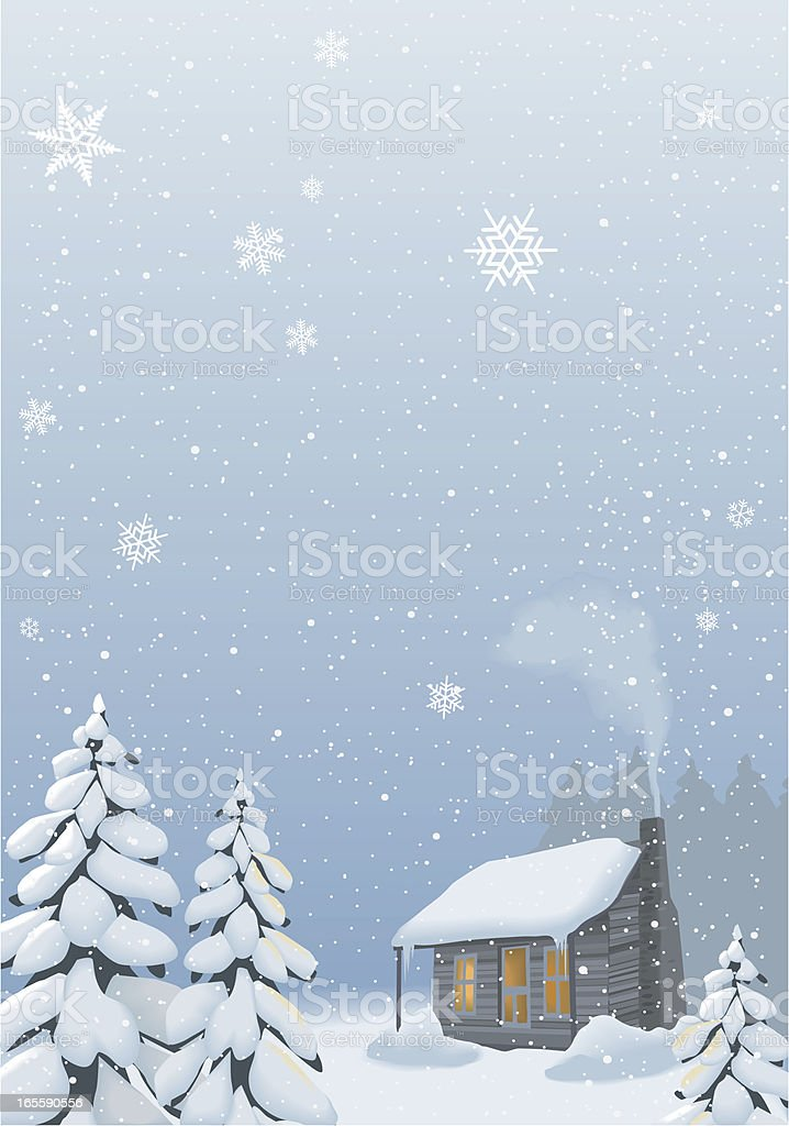 Cabin with winter background vector art illustration