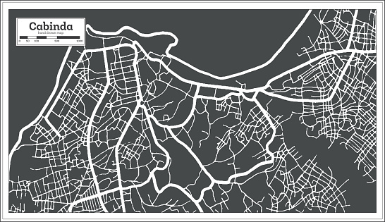 Cabinda Angola City Map in Black and White Color in Retro Style. Outline Map.