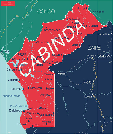 Cabinda country detailed editable map