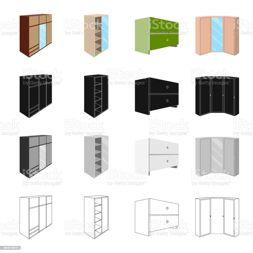 Cabinet, door, glass, and other web icon in cartoon style.Combine, cupboard, locker icons in set collection. royalty-free cabinet door glass and other web icon in cartoon stylecombine cupboard locker icons in set collection stock vector art & more images of decoration