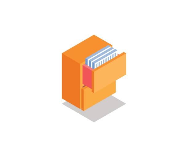 bildbanksillustrationer, clip art samt tecknat material och ikoner med skåp, låda med ikonen dokument, illustration, vektor symbol i platt isometrisk 3d-stil isolerad på vit bakgrund. - byrålåda