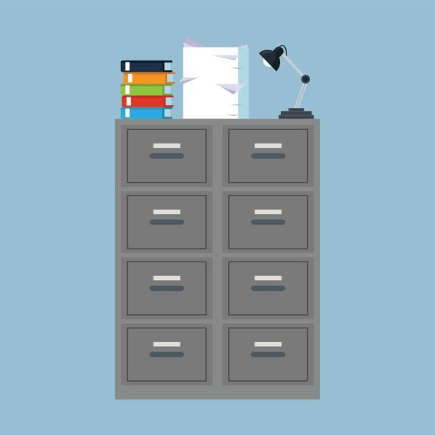 bildbanksillustrationer, clip art samt tecknat material och ikoner med skåp mappen fil binder lampa högen dokumentet - byrålåda