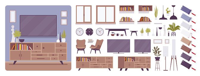 TV cabinet interior and design construction set