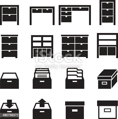 Cabinet & storage icon set