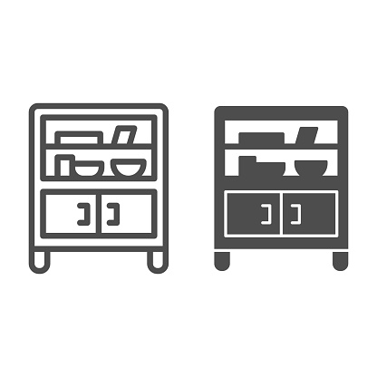 Cabinet with glass and shelves line and solid icon, Furniture concept, Buffet sign on white background, cupboard with kitchenware icon in outline style for mobile and web design. Vector graphics.
