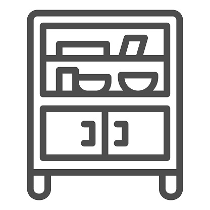 Cabinet with glass and shelves line icon, Furniture concept, Buffet sign on white background, cupboard with kitchenware icon in outline style for mobile and web design. Vector graphics.