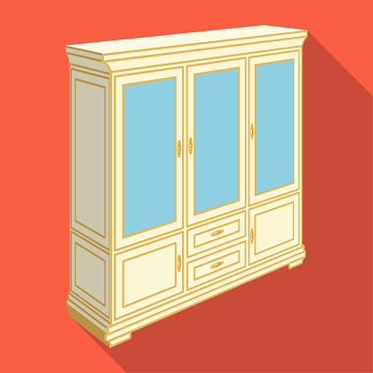 Cabinet with glass doors and drawers. Furniture and interior single icon in flat style vector Isometric symbol stock illustration web.