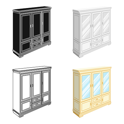 Cabinet with glass doors and drawers. Furniture and interior single icon in cartoon style vector Isometric symbol stock illustration web.