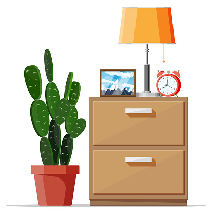Cabinet with lamp, clock, picture frame and plant.