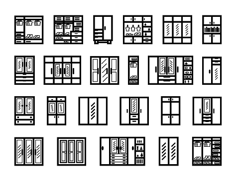 cabinets icon set