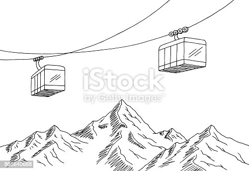 Cable Car Graphic Mountain Black White Landscape Sketch