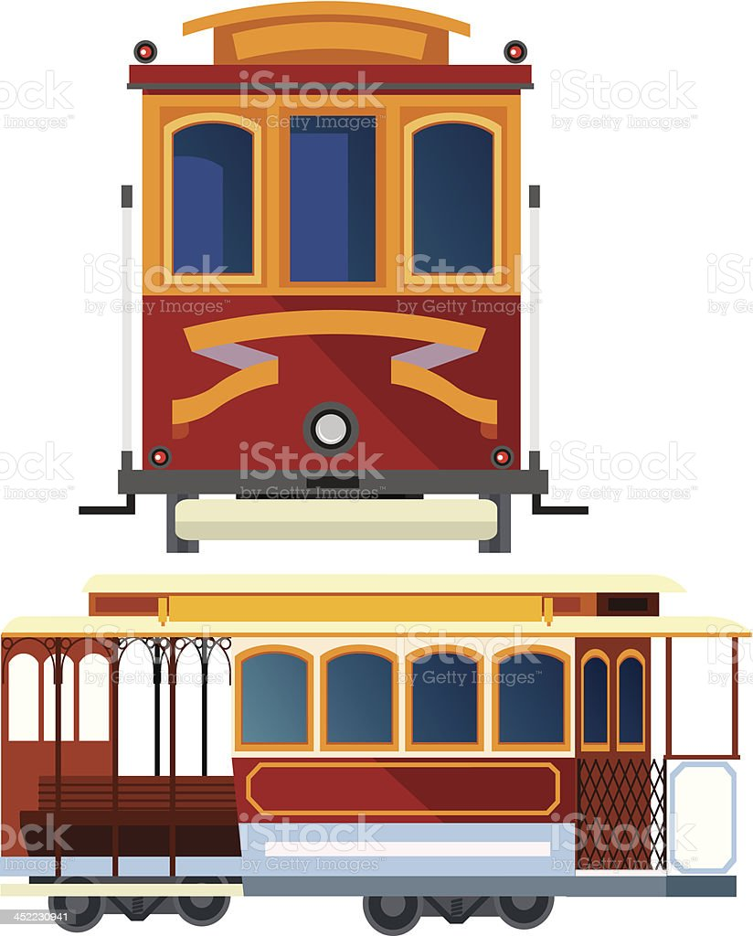 Cable Car in San Francisco royalty-free cable car in san francisco stock vector art & more images of american flag
