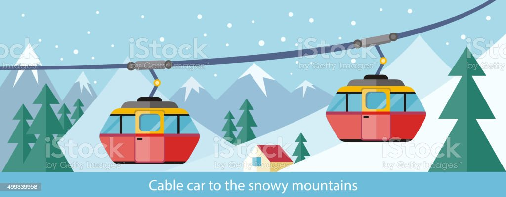 Cable Car to Snowy Mountains Design vector art illustration