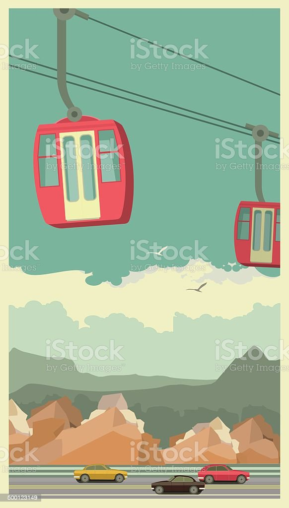 Cable Car vector art illustration
