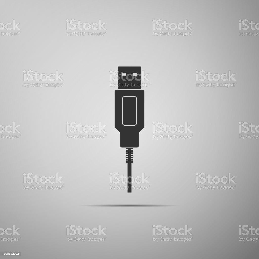 Usbkabel Kabel Symbol Isoliert Auf Grauem Hintergrund Stecker Und ...