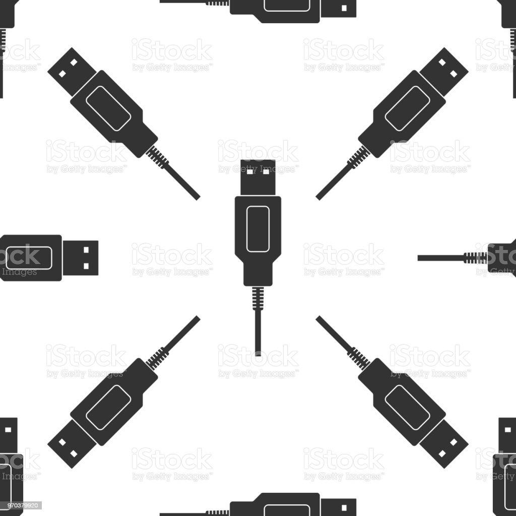 Usbkabel Kabel Symbol Nahtlose Muster Auf Weißem Hintergrund Stecker ...