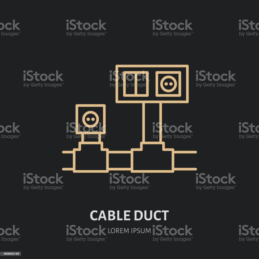 Cable Duct With Power Socket And Light Switch Flat Line Icon Wiring Outlet Diagram Sign Thin