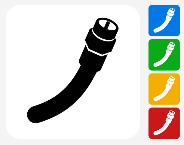 Cable Icon Flat Graphic Design Cable Icon. This 100% royalty free vector illustration features the main icon pictured in black inside a white square. The alternative color options in blue, green, yellow and red are on the right of the icon and are arranged in a vertical column. cable tv stock illustrations