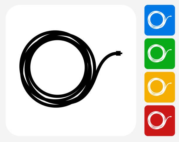 Cable Icon Flat Graphic Design vector art illustration