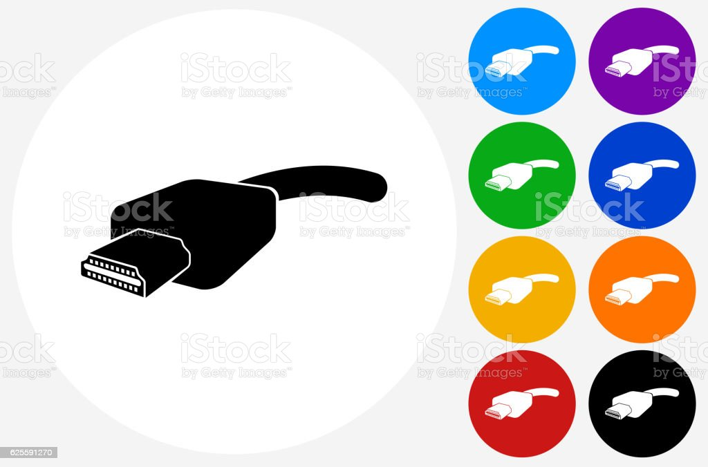 HDMI Cable Icon on Flat Color Circle Buttons vector art illustration