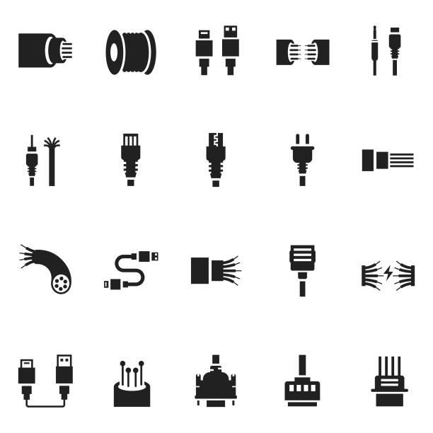 Cable icon set Cable icon set cable stock illustrations
