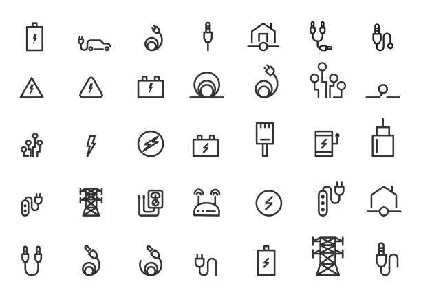 cable icons vector illustration cable icons vector illustration electric car stock illustrations