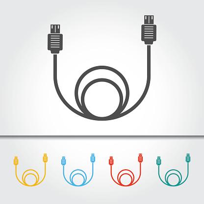 USB Cable Single Icon Vector Illustration