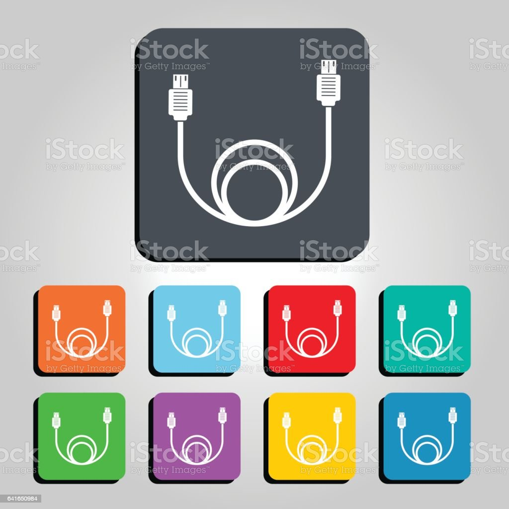 USB Cable Vector Icon Illustration vector art illustration