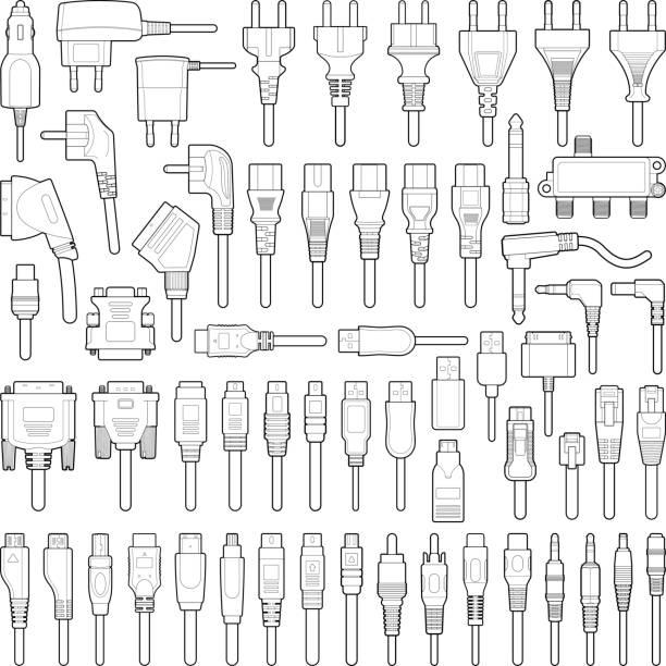 illustrations, cliparts, dessins animés et icônes de fil de câble et prise électrique - rallonge électrique