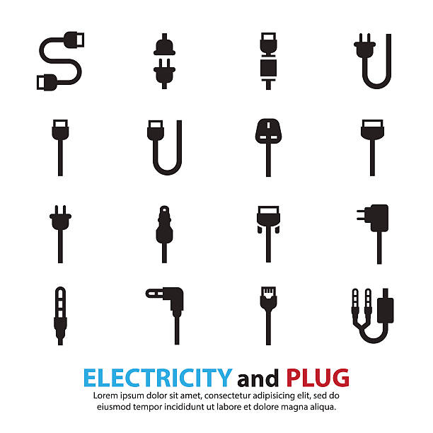 Cable wire computer and plug icons set vector art illustration