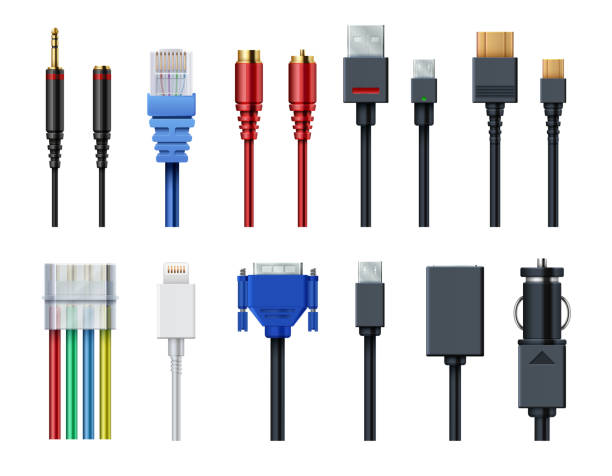 Cable wire computer video, audio, usb, hdmi, network and electric conectors and plugs vector set isolated vector art illustration
