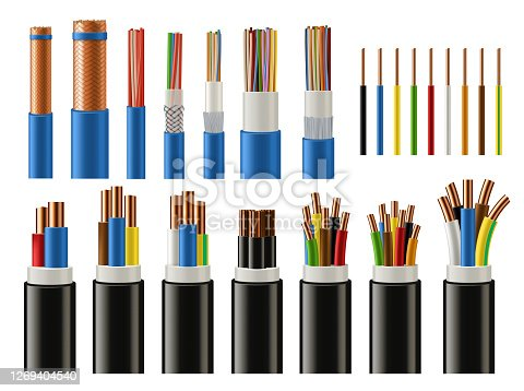 istock Cables and wires. Electrical power and network 1269404540