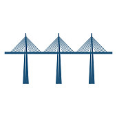 Cable-stayed bridge on three supports blue silhouette vector illustration