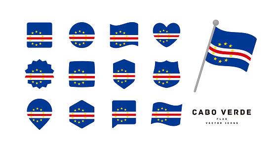 Cabo Verde flag icon set vector illustration