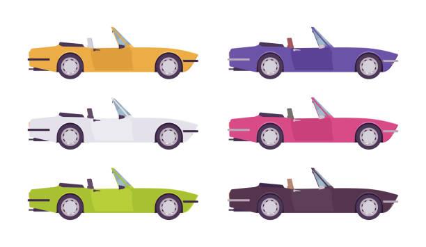 ilustrações de stock, clip art, desenhos animados e ícones de cabriolet car set in bright colors - enjoying wealthy life