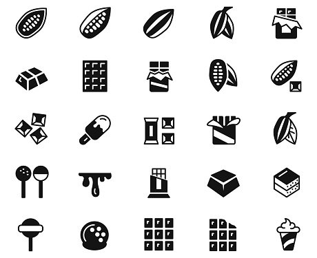Cacao and Chocolate  line icons set