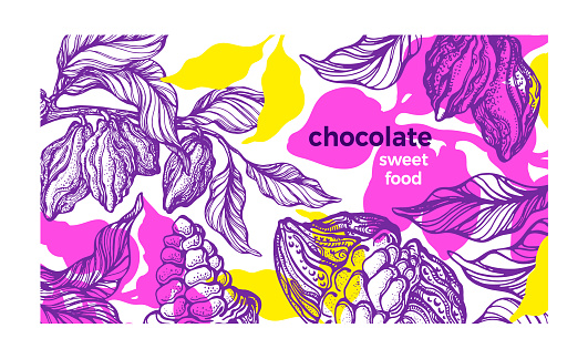 Cacao paint template. Tropical background. Natural chocolate