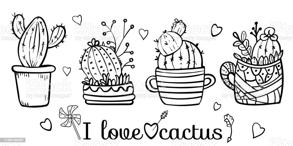Ilustración De Cactus Floreciendo Con Picos Página Para